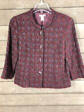 Laura Ashley 133 Burgundy Houndstooth  3/4 Sleeve Jacket Blazer Women's S