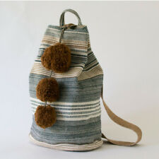 Bucket Back Pack with Pom Pom Sustainable Cotton no Dyes Guatemalan Textile
