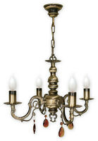 CHANDELIER 4 ARMS TRADITIONAL CEILING LIGHT - ANTIQUE BRASS FINISH - ANTARES