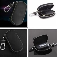 1x Black Universal PU Leather Key Holder Bags Cases For Car Smart Remote Key