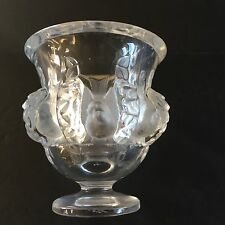 Signed LALIQUE Dampierre Lead Crystal French Art Deco Bird Vase FREE SHIPPING