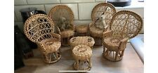 Vintage Whicker Dolls/Bears Furniture Peacock Chairs Etc