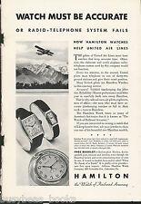 1932 HAMILTON WATCH advertisement, United Air Lines, Wrist & pocket watch