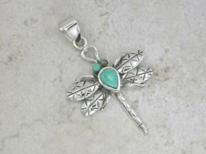 UNIQUE STERLING SILVER TURQUOISE DRAGONFLY PENDANT style# p0291
