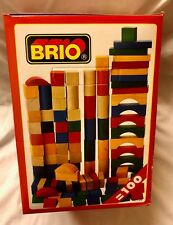 Brio 100 Wooden Building Blocks Shapes construction toddler vintage boxed New