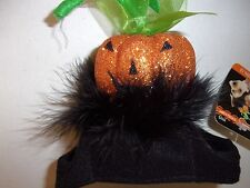 GLITTER Pumpkin HAT Dog Halloween XS/S Wag-a-tude new pet puppy cat cap head