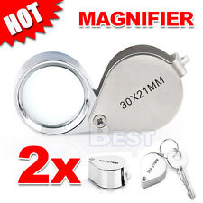 Pocket 30 X 21mm Jewellers Loupe Magnifying Lens Eye Glass Chrome Magnifier