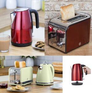 Swan Townhouse 2 Slice Toaster 800W Kettle 1.7L Jug Kitchen Appliance Set - Red