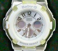 A21 Preowned Casio Baby-G Women White Silver Digital Analog Chrono Watch BGA-110