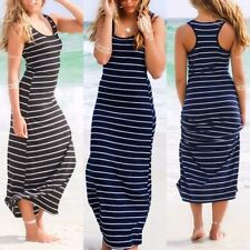Plus Women Ladies Striped Sleeveless Long Tank Top Vest Bodycon Beach Maxi Dress