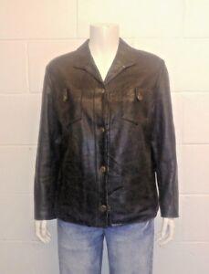 S. L. M. Vintage La Richarde Napa Leather Ladies box Jacket. Button up front.