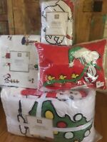 Pottery Barn Peanuts Twin Quilt Sham Sheet Set Pillow Snoopy Christmas Holiday