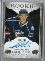 2016-17 Upper deck ICE Exquisite Rookie auto Sonny Milano 056/225 Columbus RC