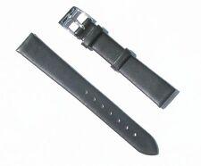 16mm Genuine Leather Thin Black Watch Band - Size Regular