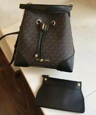 Michael Kors 100% Mercer Gallery Bucket Shoulder Bag MK Logo Black Brown NEW