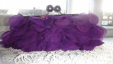 INSPIRATIONS Satin & Chiffon Purple Clutch  Bag • Evening Occasion