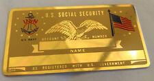 U.S. Navy US Social Security Metal Card Tag NOS VTG Perma Products