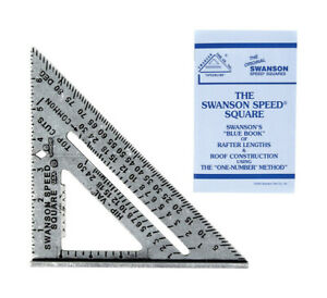 Swanson 7-Inch Carpenters Construction Aluminum Alloy Speed Square w/ Blue Book