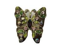 Beautiful Moth Butterfly Pin Brooch Rhinestones Enamel  E9
