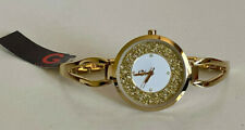 NEW GUESS CRYSTALS & GLITTER GLITZ DIAL GOLD-TONE OPEN BANGLE BRACELET WATCH $95