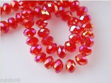 450pcs Red AB Faceted Crystal Loose Beads 3X4mm