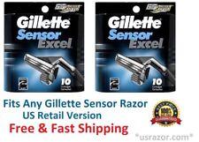 20 Gillette Sensor Excel Razor blades Refill Cartridges 5 10 Fits Sensor3 Shaver
