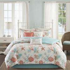 BEAUTIFUL MODERN BEACH CORAL BLUE AQUA SAND OCEAN SEASHELL COMFORTER SET KING