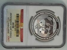 2009 China Silver Panda (1 oz) 10 Yuan - 30th Anniversary Commemorative NGC MS69