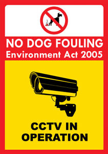 """""""NO DOG FOULING CCTV IN OPERATION"""" METAL SIGN PICK UP AFTER YOUR DOG DOG MESS"""
