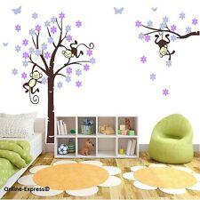 Monkey Tree Jungle Nursery Wall Sticker Decals Fairy Flower Butterfly Purple Kid
