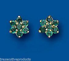 Emerald pendientes Tachuelas Núcleo De Esmeraldas Oro Amarillo