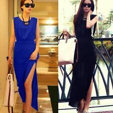 Women Sleeveless Chiffon Summer Beach Side Slit Full Length Long Maxi Dresses