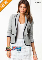 New Womens Ladies Stylish Casual Suit Coat Jacket Blazer Size 2 6 10 14 16 WS016