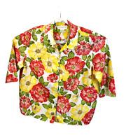 Jones New York Sport womens shirt sz 2X multicolor floral 100 % linen 3/4 sleeve