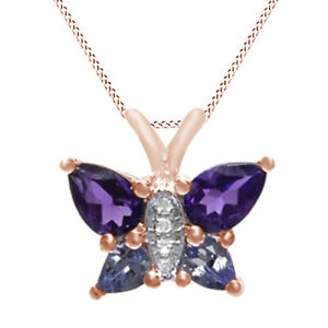 Amethyst,Tanzanite & Cubic Zirconia Butterfly Necklace 10K Solid Rose Gold