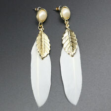 White Chandelier Chain Long Charm Jewelry Feather Earrings Fashion Dangle