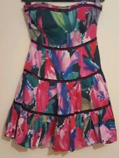 Coast Womens Corset Dress Red Size 10 Silk Colourful Floral Sleevless Strapless