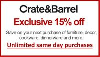 CRATE & BARREL | 15% OFF Unlimited Coupon | Use Instantly | June '21 Expiration