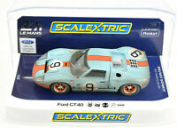 """Scalextric Weathered """"Gulf"""" Ford GT40 #9 DPR W/ Lights 1/32 Scale Slot Car C4104"""