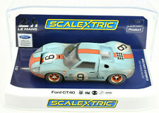 "Scalextric Weathered ""Gulf"" Ford GT40 #9 DPR W/ Lights 1/32 Scale Slot Car C4104"