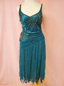 Sue Wong Nocturne Collection Teal 100% Silk Beaded Flapper Dress Great Gatsby 2