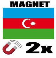 2 x AZERBAIDJAN Drapeau Magnet 6x3 cm Aimant déco AZERBAIDJAN magnétique frigo