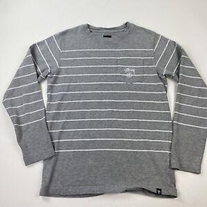 STUSSY Vintage Long Sleeve Gray Striped Pocket T Shirt Size Small