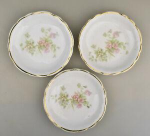 Three Vintage Porcelain Pink Flower Floral Butter Pats Gold Trim Unmarked