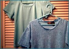 2 Knit Tops Lot REBA Seafoam Green ROUTE 66 Turquoise Floral Size Large