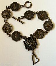 Son Of God bronze cross Bracelet Christian Jesus Christ - rustique jewellery