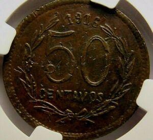 Mexico: 1916  50 Centavos  Morelos AU Details  NGC SCARCE 57-589