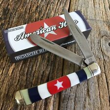 ROUGH RIDER Mother of Pearl AMERICAN HERO TRAPPER 2 Blade Folding Knife! RR1434