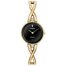 Citizen Eco-Drive Women's Black Dial Gold-Tone Bangle 23mm Watch EX1422-54E