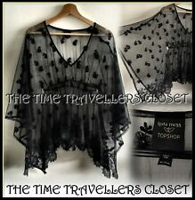 TOPSHOP KATE MOSS BLACK FLORAL TULLE LACE TIE DRAPE SHEER KAFTAN BLOUSE UK 6 8